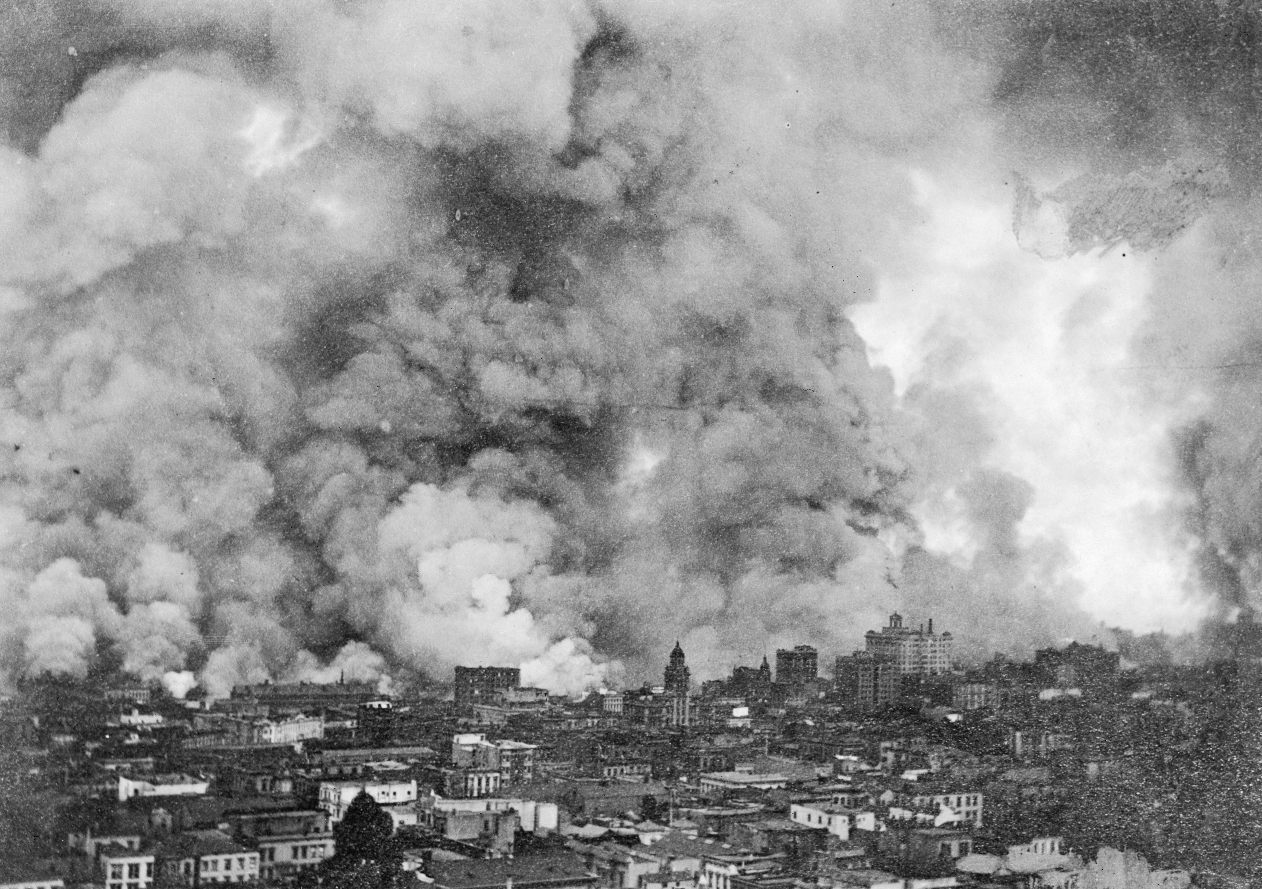 Smoke Billowing over San Francisco after 1906 Earthquake